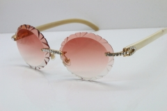 Cartier Big Stones White Genuine Natural Horn T8200761 Rimless Sunglasses In Gold Pink Carved Lens