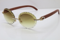 Cartier Big Stones Original Wood T8200761 Rimless Sunglasses In Gold Brown Carved Lens