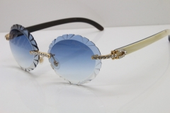 Cartier Big Stones  White Inside Black Buffalo Horn T8200761 Rimless Sunglasses In Gold Blue Carved Lens