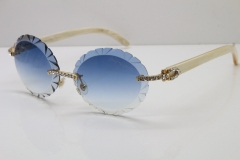 Cartier Big Stones White Genuine Natural Horn T8200761 Rimless Sunglasses In Gold Blue Carved Lens