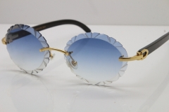 Cartier  Original Black Buffalo Horn T8200761 Rimless Sunglasses In Gold Blue Carved Lens