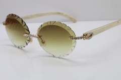 Cartier Big Stones White Genuine Natural Horn T8200761 Rimless Sunglasses In Gold Brown Carved Lens