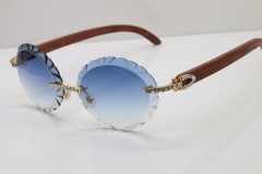 Cartier Big Stones Original Wood T8200761 Rimless Sunglasses In Gold Blue Carved Lens