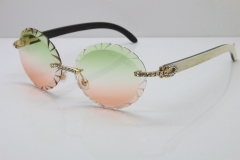 Cartier Big Stones  White Inside Black Buffalo Horn T8200761 Rimless Sunglasses In Gold Green Brown Carved Lens