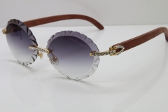 Cartier Big Stones Original Wood T8200761 Rimless Sunglasses In Gold Gray Carved Lens