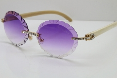 Cartier Big Stones White Genuine Natural Horn T8200761 Rimless Sunglasses In Gold Purple Carved Lens