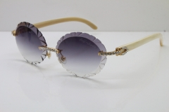 Cartier Big Stones White Genuine Natural Horn T8200761 Rimless Sunglasses In Gold Gray Carved Lens