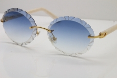 Cartier Rimless T8200761 Sunglasses In Gold Blue Carved Lens