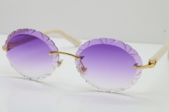Cartier Rimless T8200761 Sunglasses In Gold Purple Carved Lens
