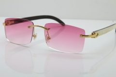 Cartier Rimless 8200757 SunGlasses Original White Inside Black Buffalo Horn Sunglasses in Gold Pink Lens