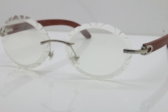 Cartier Rimless Original Wood T8200761 Eyeglasses in Silver Transparent Carved Lens