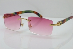Cartier Rimless 8200757 SunGlasses Original Peacock Wood Sunglasses in Gold Pink Lens