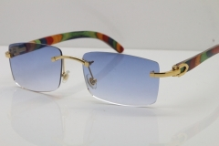 Cartier Rimless 8200757 SunGlasses Original Peacock Wood Sunglasses in Silver Blue Lens