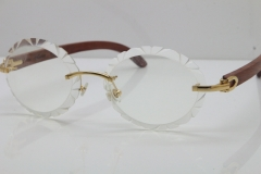 Cartier Rimless Original Wood T8200761 Eyeglasses in Gold Transparent Carved Lens