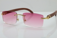 Cartier Rimless 8200757 SunGlasses Original Wood Sunglasses in Gold Pink Lens