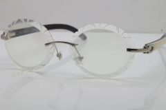 Cartier Rimless Original White Inside Black Buffalo Horn T8200761 Eyeglasses in Silver Transparent Carved Lens