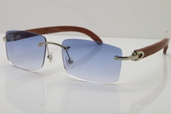 Cartier Rimless 8200758 SunGlasses Original Wood Sunglasses in Silver Blue Lens