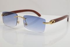 Cartier Rimless 8200757 SunGlasses Original Carved Wood Sunglasses in Gold Blue Lens