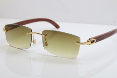 New Cartier Rimless 8200757 SunGlasses Original Carved Wood Sunglasses in Gold Brown Lens