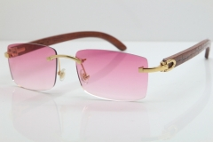 Cartier Rimless 8200757 SunGlasses Original Carved Wood Sunglasses in Gold Pink Lens
