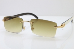 Hot Cartier Rimless 8200757 Original White Inside Black Buffalo Horn Sunglasses In Gold Brown Lnes