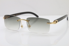 Cartier Rimless 8200757 Original Black Buffalo Horn Sunglasses In Gold Light Green Lnes
