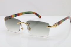 Cartier Rimless 8200757 SunGlasses Original Peacock Wood Sunglasses in Gold Light Green Lens