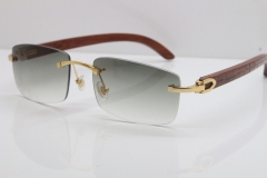 New Cartier Rimless 8200757 SunGlasses Original Carved Wood Sunglasses in Gold Light Green Lens