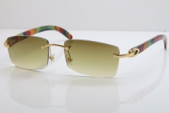 Cartier Rimless 8200757 SunGlasses Original Peacock Wood Sunglasses in Gold Brown Lens