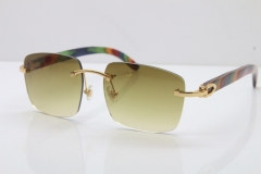 Cartier Rimless Original Peacock Wood T8300816 Sunglasses in Gold Brown Lens Hot