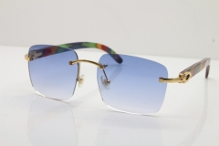 Cartier Rimless Original Peacock Wood T8300816 Sunglasses in Gold Blue Lens Ho