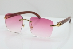 Cartier Rimless Original Carved Wood T8300816 Sunglasses in Gold Pink Lens Hot