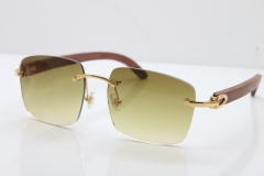 Cartier Rimless Original Wood T8300816 Sunglasses in Gold Brown Lens Hot