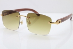 Cartier Rimless Original Carved Wood T8300816 Sunglasses in Gold Brown Lens Hot