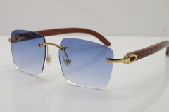 Cartier Rimless Original Carved Wood T8300816 Sunglasses in Gold Blue Lens Hot