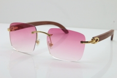 Cartier Rimless Original Wood T8300816 Sunglasses in Gold Pink Lens Hot