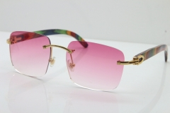 Cartier Rimless Original Peacock Wood T8300816 Sunglasses in Gold Pink Lens Hot