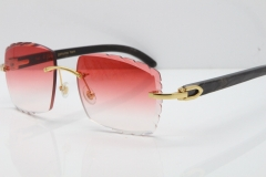 Cartier Rimless Original Black Flower Buffalo Horn 8300816 Buffs Sunglasses In Gold Red Carved Lens