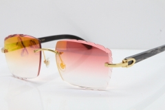 Cartier Rimless Original Black Flower Buffalo Horn 8300816 Sunglasses In Gold Red Mirror Carved Lens