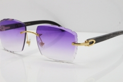 Cartier Rimless Original Black Flower Buffalo Horn 8300816 Buffs Sunglasses In Gold Purple Carved Lens(New)