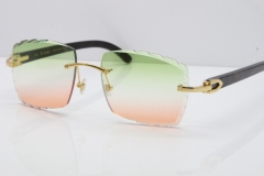 Cartier Rimless Original Black Flower Buffalo Horn 8300816 Sunglasses In Gold Green Mix Brown Carved Lens