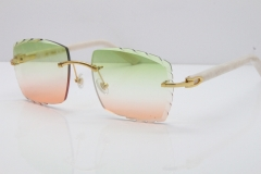 Cartier Rimless Aztec Arms 8300816 Carved Lens Sunglasses In Gold Green Mix Brown Lens