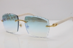 Cartier Rimless Aztec Arms 8300816 Carved Lens Sunglasses In Gold Ice Blue Lens