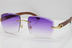 Cartier Rimless 8300816 Original Wood Sunglasses In Gold Purple Carved Lens