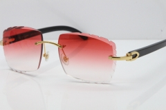 Cartier Rimless 8300816 Original Black Buffalo Horn Sunglasses In Gold Red Lens Carved Lens