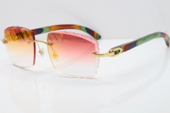Cartier Rimless 8300816 Original Peacock Wood Sunglasses In Gold Mirror Red Carved Lens
