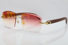 Cartier Rimless 8300816 Original Wood Sunglasses In Gold Mirror Red Carved Lens