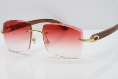 Cartier Rimless 8300816 Original Wood Sunglasses In Gold Red Carved Lens