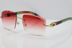 Cartier Rimless 8300816 Original Peacock Wood Sunglasses In Gold Red Carved Lens
