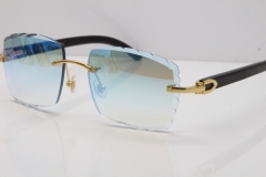 Cartier Rimless 8300816 Original Black Buffalo Horn Sunglasses In Gold Ice Blue Carved Lens